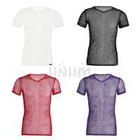 Mens Mesh Sheer T-shirt Vest Gym Training Tank Top Muscle Undershirt Clubwear