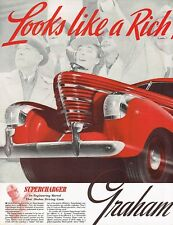 1937 BIG Original Vintage 1938 Graham Car Automobile Art Print Ad
