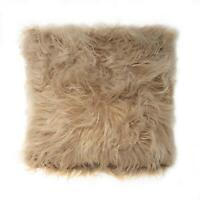 """Filled Soft Mongolian Faux Fur Suede Latte Coffee Fluffy Cushion 17"""""""