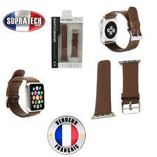 Bracelet Montre Cuir Véritable Marron pour Apple Watch 38 mm Serie 1 et Serie 2
