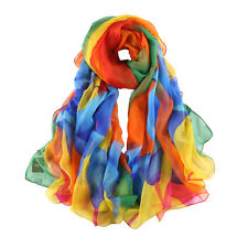 Extra Long and Wide Chiffon Scarf Beach Scarf Blue and Orange Painting CHD322