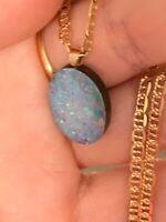 Natural Black Boulder Opal Pendant 14 Ct Solid Gold
