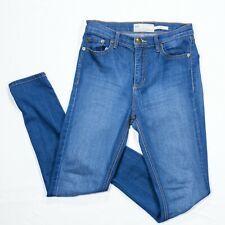 Free People Womens 26 Blue Denim Hi-Rise Skinny Cropped Rayon Cotton Stretch