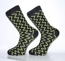 High Quality Black Socks With Green Zig-Zag Stripes