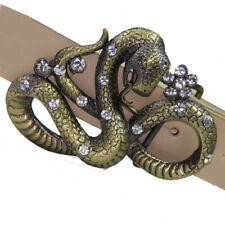 Buckle Gürtelschnalle Schlange Kobra gold mit Ziersteinen Wechselgürtel 3,5 cm