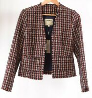 L'Agence NWT Jacket/Blazer Size 6 in Blue/Reddish Orange Multi Houndstooth $475