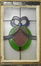 """MID SIZED OLD ENGLISH LEADED STAINED GLASS WINDOW Beautiful Ribbon 15.5"""" x 25"""""""