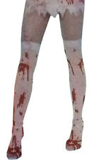 White Bloody Blood Stained Hold Up Stockings Socks Zombie Halloween Fancy Dress