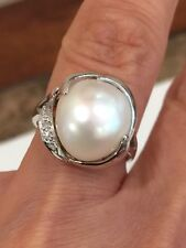 PEARL  DIAMOND RING 14 KT WHITE GOLD 10 MM TAHITIAN