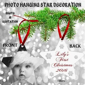 Personalised Any Photo First Christmas Baby Tree Metal Star Decoration Present