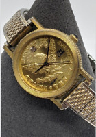 Vintage Oleg Cassini Ladies Women's Watch Metal Expandable Band Gold Tone