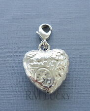 Silver color HEART dangle Clip On Charm purse with Lobster Clasp Link Chain C59