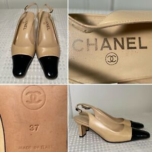 CHANEL Beige Leather/Black Patent Cap-Toe Buckle Slingback Heels Size 37 US 7