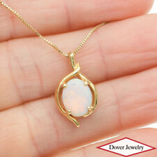 Estate Opal 14K Yellow Gold Dainty Solitaire Pendant NR