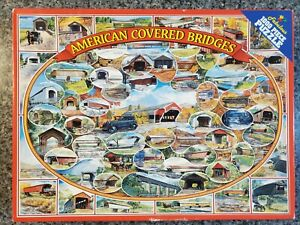 VINTAGE White Mountain AMERICAN COVERED BRIDGES 1000 piece puzzle COMPLETE