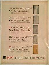 "Vintage 1957 Zippo Lighter Magazine Advertisement "" The Gift That Lights Forever"
