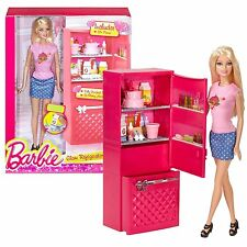 BARBIE GLAM REFRIGERATOR W/ DOLL 10 PCS CCX04 2014 *NEW*