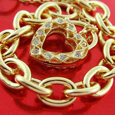 BRACELET REAL 14 k YELLOW VERMEIL GOLD DIAMOND SIMULATED PADLOCK SOLID DESIGN