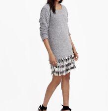 $398 J Crew Collection E2868 Fringe Sweatshirt Grey/multi Dress XS