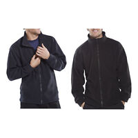 Click Mens Quality Polyester Fleece Work Jacket Coat Full Zip Navy Blue or Black