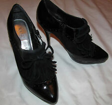 WHITE HOUSE BLACK MARKET TYRA patent leather suede kiltie ankle sexy shoes 8 M
