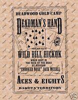 POSTER DEADWOOD DEADMAN'S HAND WILD BILL HICKOK Old Wild West Poker Poster 129
