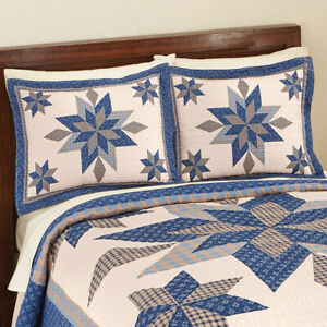 Navy Star Patchwork Pillow Sham Fit Standard Pillow Shams Sold Individually