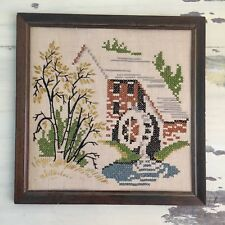 FRAMED CROSS STITCH ART - Vtg Water Mill Spring Rural Embroidery Handmade Art