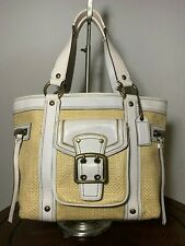 COACH LEGACY WHITE LEATHER NATURAL STRAW TOTE 113 BAG TOTE HANDBAG