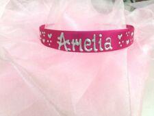 Personalised Girls pink satin 2cm headband/hairband/alice band ANYNAME