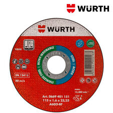 Dischi Taglio 115x1,6 Mola per Acciaio ed Inox 100pz - WÜRTH 0669401151