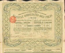 Klondyke Gold Fields > 1901 Alaska Klondike gold mines mining share certificate