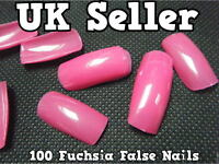 100x FUCHSIA HOT PINK FALSE FAKE ACRYLIC FULL COVER FRENCH NAILS TIPS ART MAKEUP