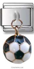 1 Soccer Ball Sport Dangle 9MM Stainless Steel Italian Charm