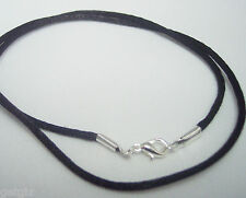 """40 Necklace Cords for Pendant BLACK Satin QUALITY  handmade 24""""  Silver Plated"""