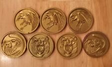 SEVEN (7) Vintage Mighty Morphin Power Rangers Animal Coins McDonalds 1997 Used