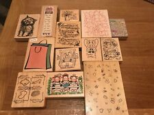 CRAFT INK Rubber stamps bundle Cat Picture Funny Baby Arts Play X 13 Large