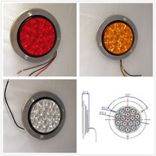 PAIR OF 2 LED STOP TURN TAIL LIGHT ROUND RED TRUCK TRAILER CLEAR LENS
