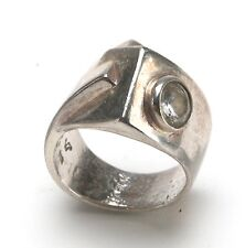 Women's Silver Unusual Ring With Clear Stone. Size 6,5-7. Looks Exclusive.