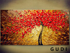 GUDI-Modern Abstract Art Manual Oil Painting Wall Deco Canvas Tree Unframed Gift