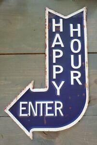 """Bar Tin Sign Happy Hour Enter Garage Rec Room Home Decor Vintage Look 15.75""""H"""