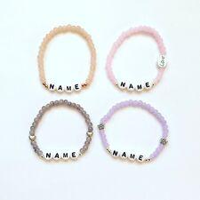 Freundschaftsarmband Armband mit Name Wunschname Namensarmband silber rosa grau