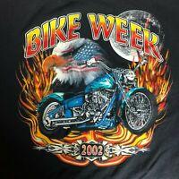 Bike Week Eagle Patriotic Graphic T Shirt XXL Black Motorcycle Biker 2002 Riding