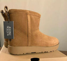 UGG CLASSIC MINI WATERPROOF CHESTNUT SUEDE SHEEPSKIN BOOTS SIZE 6, NEW 1019643