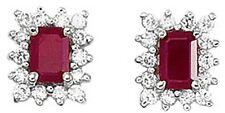 14k Oro Blanco Diamante & Octagonal Ruby Pendientes