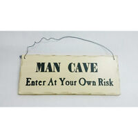 "10""x 4"" Wood Sign Man Cave Enter At Your Own Risk Wall Hanging Decor Wooden 331"