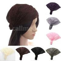 Women Wide Lace Head Band Wrap Turban Floral Bandanas Elastic Bonnet