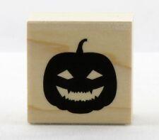 Happy Jack O'Lantern Pumpkin Wood Mounted Rubber Stamp Hero Arts NEW halloween
