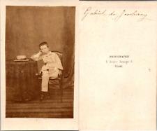 CDV Tours, Petit garçon nommé Gabriel de Joncheray, circa 1860 Vintage CDV album