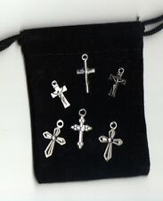 """Lot Of 6 assorted crucifix / cross pendants 1/2"""" to 3/4"""" in size"""